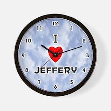 I Love Jeffery (Black) Valentine Wall Clock