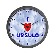 I Love Ursula (Blue) Valentine Wall Clock