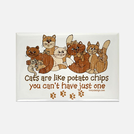 Cats are like potato chips s Magnets