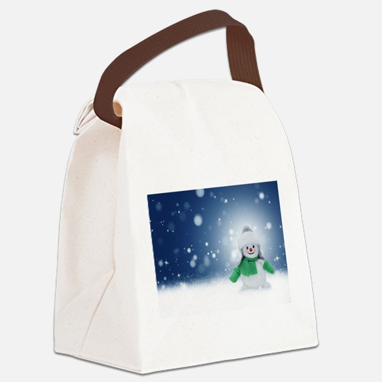 Snowman Canvas Lunch Bag