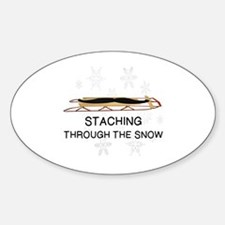 Cute Staching through the snow Sticker (Oval)