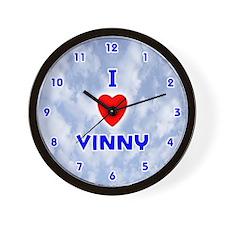 I Love Vinny (Blue) Valentine Wall Clock