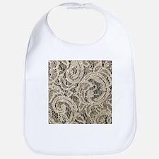 cream sequins lace bohemian Baby Bib