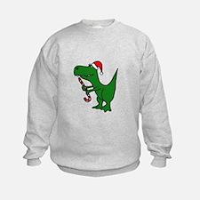 T-rex Dinosaur in Santa Hat Sweatshirt