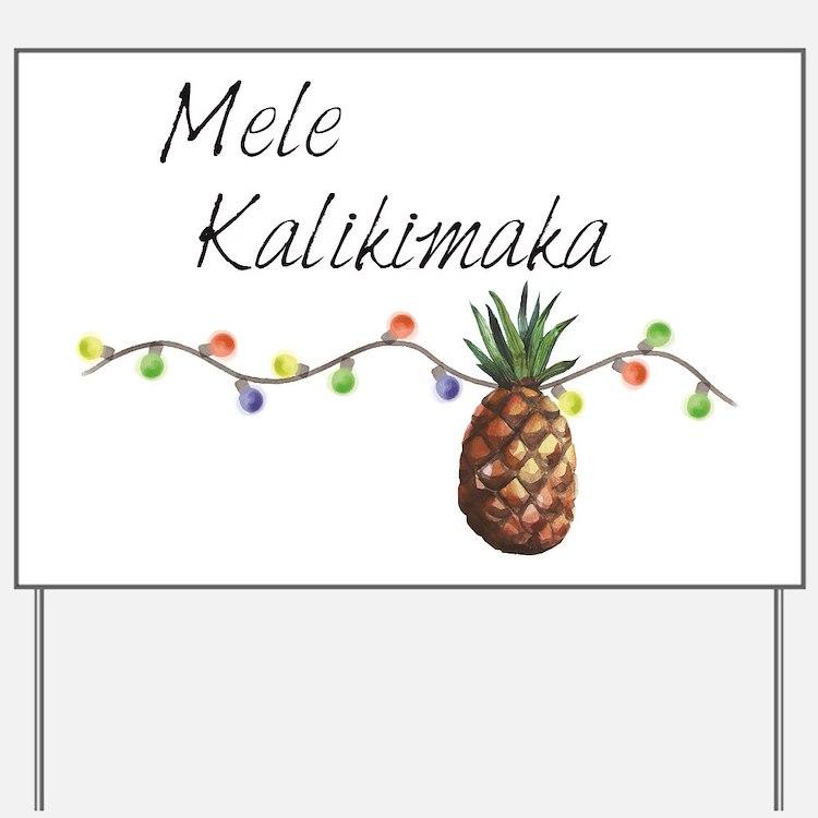 Mele Kalikimaka - Hawaiian Christmas Yard Sign