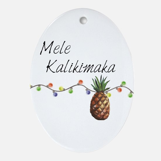 Mele Kalikimaka - Hawaiian Christmas Oval Ornament