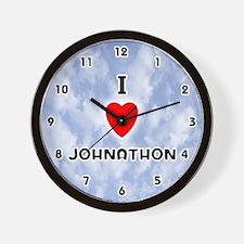 I Love Johnathon (Black) Valentine Wall Clock