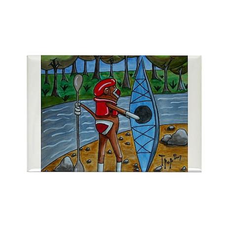 Kayak Sock Monkey Rectangle Magnet (100 pack)