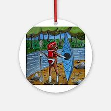 Kayak Sock Monkey Ornament (Round)