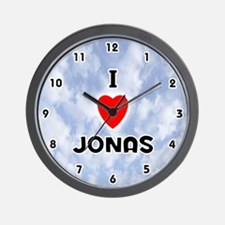 I Love Jonas (Black) Valentine Wall Clock