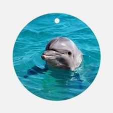 Dolphin Blue Water Round Ornament