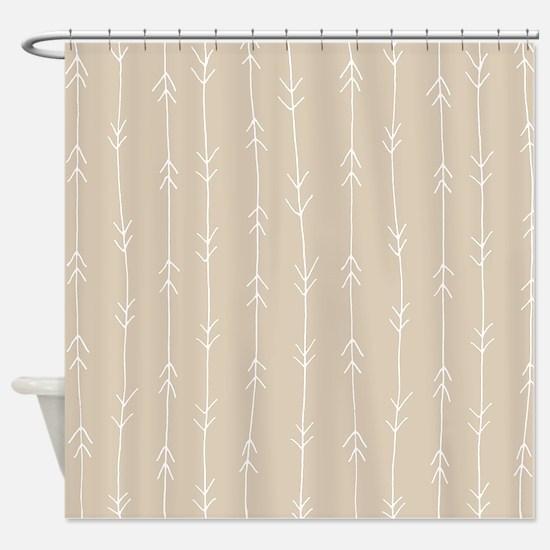 Brown, Beige: Arrows Pattern Shower Curtain