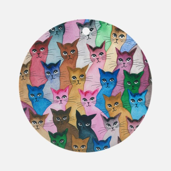 Cute Whimsical cats Round Ornament