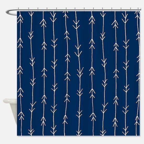 Blue, Navy: Arrow Pattern Shower Curtain