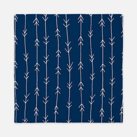 Blue, Navy: Arrow Pattern Queen Duvet