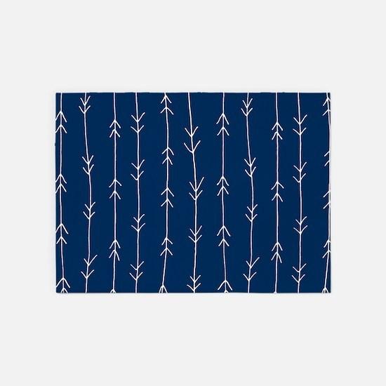 Blue, Navy: Arrow Pattern 5'x7'Area Rug