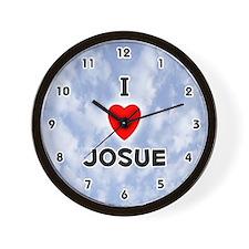 I Love Josue (Black) Valentine Wall Clock