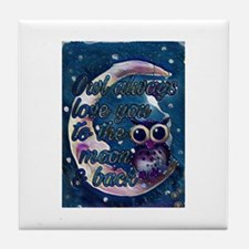 Owl always love u moon & back Tile Coaster