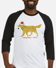 Naughty Christmas Golden Retriever Baseball Jersey