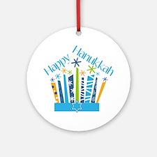 Happy Hanukkah Candles Round Ornament