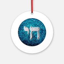 Silver & Blue Glitter Chai Symbol Round Ornament