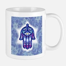 Blue & Lavender Hamsa Hand Symbol Mugs