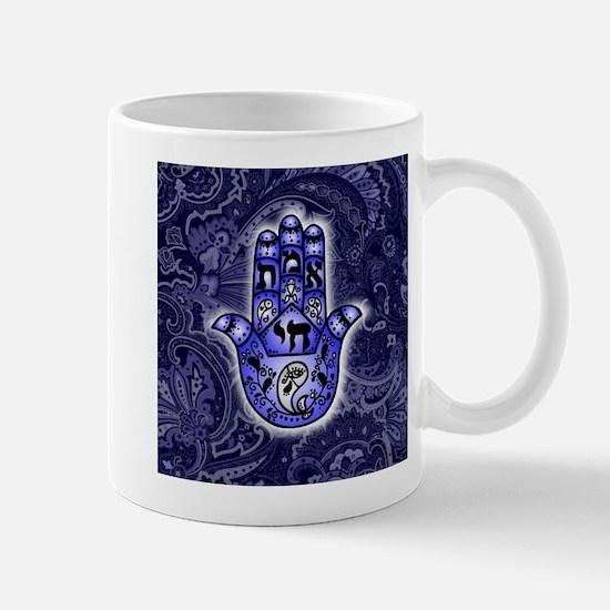 Blue Paisley Hamsa Hand Symbol Mugs