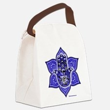 Blue Paisley Hamsa Hand Symbol Canvas Lunch Bag