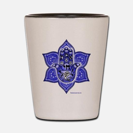 Blue Paisley Hamsa Hand Symbol Shot Glass