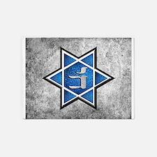 Blue Glitter Grunge Star of David 5'x7'Area Rug