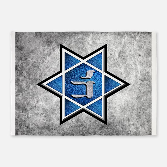 Blue Glitter Grunge Star of David 5'x7'Area Rug
