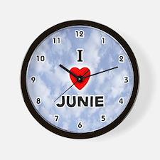 I Love Junie (Black) Valentine Wall Clock