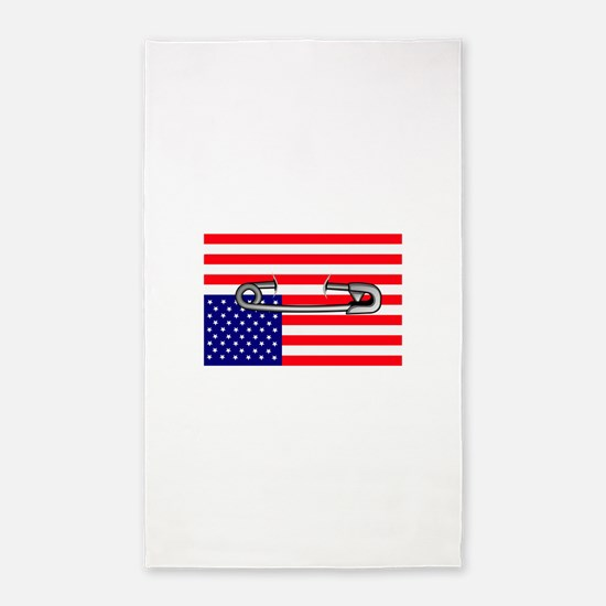 Flag safety pin Area Rug