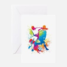 NeonFootball 5 Greeting Cards