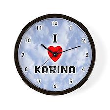 I Love Karina (Black) Valentine Wall Clock