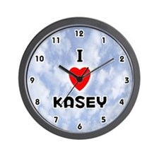 I Love Kasey (Black) Valentine Wall Clock