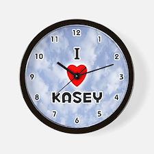 I Love Kasey (Black) Valentine Wall Clock