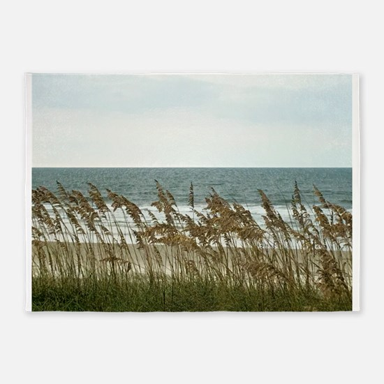 Dunes at the Beach with Sea Oats 5'x7'Area Rug