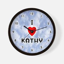 I Love Kathy (Black) Valentine Wall Clock