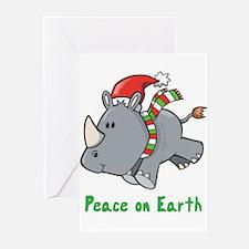 Peace Rhino Greeting Cards