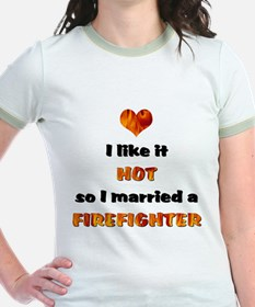 I Married a Firefighter- Women's Pink T-Shirt