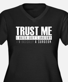Grey's Trust Women's Plus Size V-Neck Dark T-Shirt