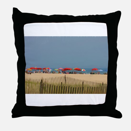 Cape May, NJ Beach Umbrellas Throw Pillow