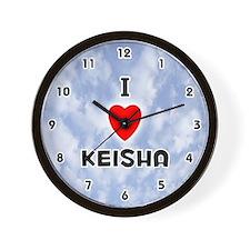 I Love Keisha (Black) Valentine Wall Clock
