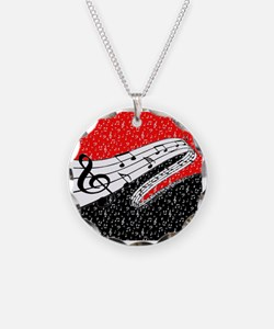 Red and black music theme Necklace Circle Charm