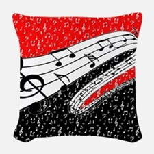 Red and black music theme Woven Throw Pillow
