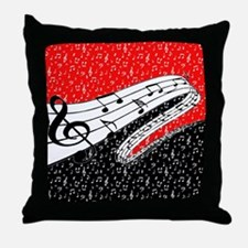 Red and black music theme Throw Pillow
