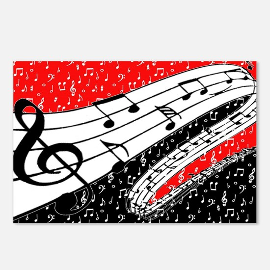 Red and black music theme Postcards (Package of 8)