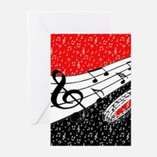 Red and black music theme Greeting Cards