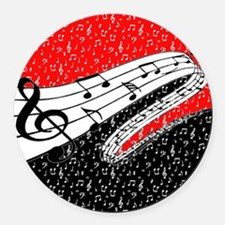 Red and black music theme Round Car Magnet